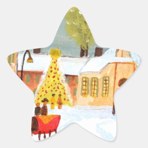 Felices Navidad Calcomanía Forma De Estrella Personalizada