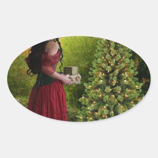 Felices Navidad Pegatina Ovalada