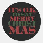Felices Navidad Pegatina Redonda
