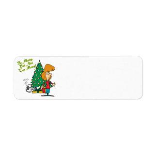 Felices Navidad pero dibujo animado divertido no d Etiquetas De Remite