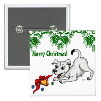 ¡Felices Navidad! Perrito con Bell y la bola Pin Cuadrado