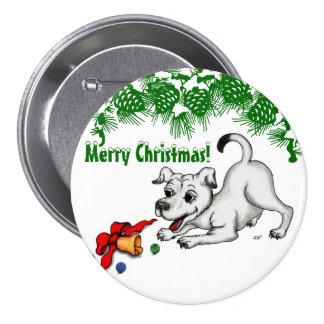 ¡Felices Navidad! Perrito con Bell y la bola Pin Redondo De 3 Pulgadas