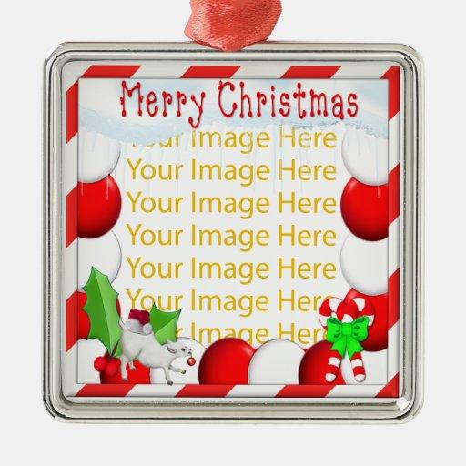 Felices Navidad personalizadas Ornamen de plata Adorno Navideño Cuadrado De Metal