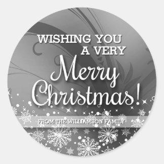 Felices Navidad personalizadas (plata) Pegatina Redonda