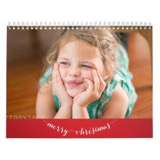 Felices Navidad personalizadas rojo lindo del Calendarios De Pared