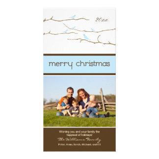 Felices Navidad Photocard de los pájaros de la Plantilla Para Tarjeta De Foto