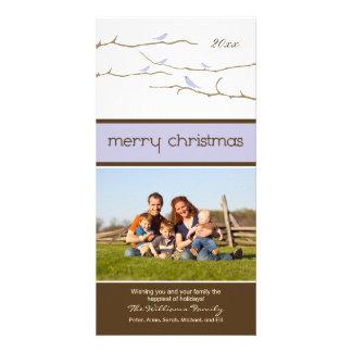 Felices Navidad Photocard (lavanda) de los pájaros Tarjeta Fotográfica