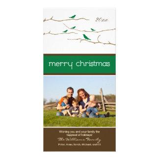 Felices Navidad Photocard (verde) de los pájaros Tarjeta Fotografica Personalizada