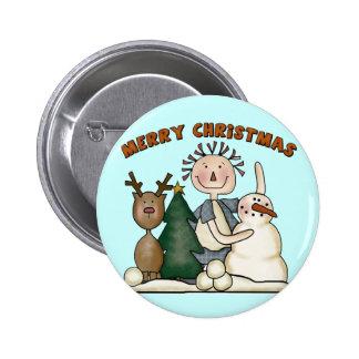 Felices Navidad Pin Redondo De 2 Pulgadas