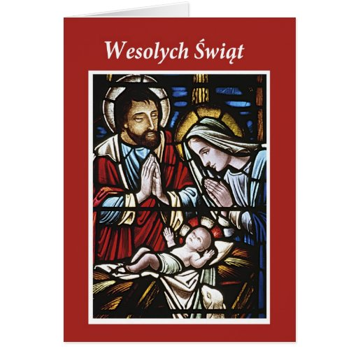 Felices Navidad polacas, vitral, religioso Tarjeta De Felicitación
