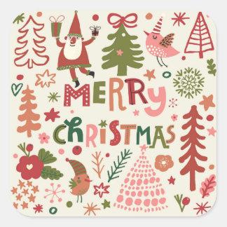 Felices Navidad preciosas Pegatina Cuadrada