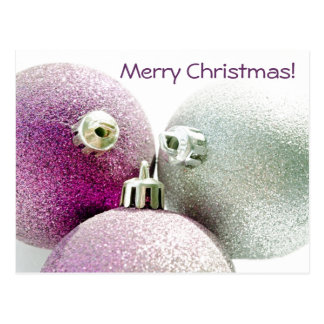 Felices Navidad púrpuras Postal