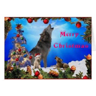 Felices Navidad que gritan la tarjeta de los lobos