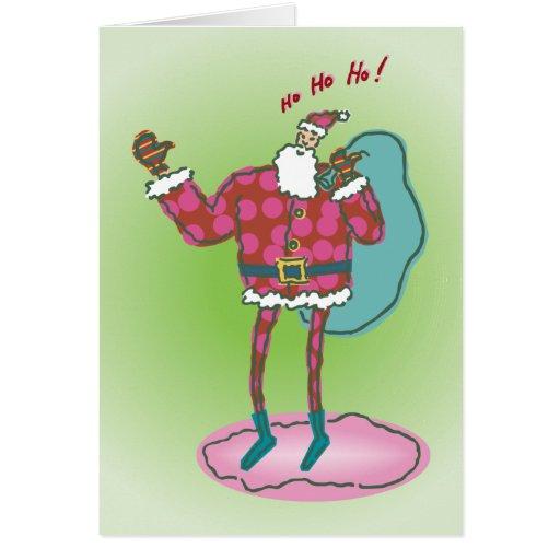 Felices Navidad que hacen autostop la tarjeta de