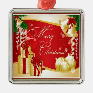 Felices Navidad que saludan con los arcos y Orna d Ornamento Para Arbol De Navidad