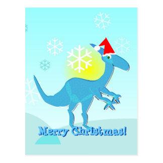 Felices Navidad que saludan la postal del dinosaur