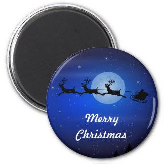 Felices Navidad que vuelan Santa Imán Redondo 5 Cm