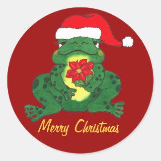 Felices Navidad - rana de lúpulo Sitcker de Santa Etiqueta Redonda
