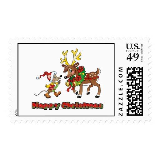 Felices Navidad ratón y ciervos Sellos