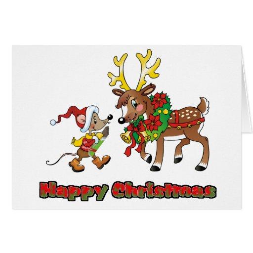 Felices Navidad ratón y ciervos Tarjeta De Felicitación