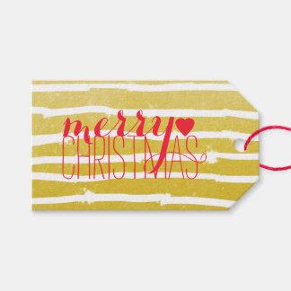 Felices Navidad rayadas de la tipografía Etiquetas Para Regalos