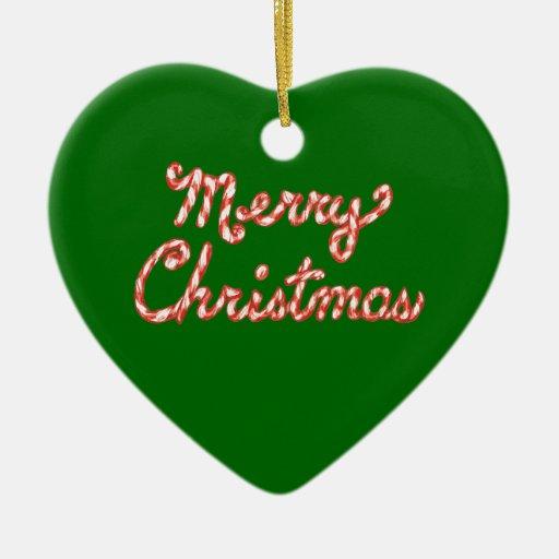 Felices Navidad rayadas del bastón de caramelo Adorno Navideño De Cerámica En Forma De Corazón