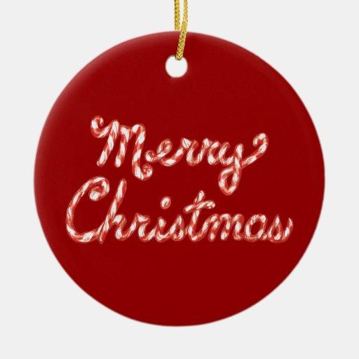 Felices Navidad rayadas del bastón de caramelo Adorno Navideño Redondo De Cerámica