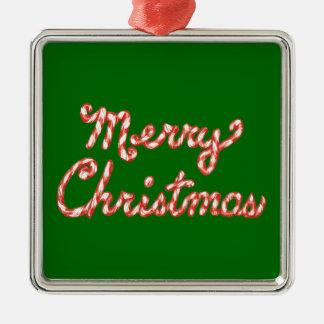 Felices Navidad rayadas del bastón de caramelo Adorno Cuadrado Plateado