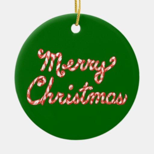Felices Navidad rayadas del bastón de caramelo Adorno Redondo De Cerámica