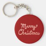 Felices Navidad rayadas del bastón de caramelo Llaveros Personalizados