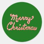 Felices Navidad rayadas del bastón de caramelo Pegatinas Redondas