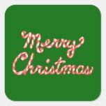 Felices Navidad rayadas del bastón de caramelo Calcomanías Cuadradass Personalizadas