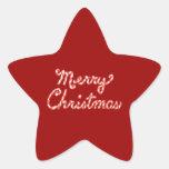 Felices Navidad rayadas del bastón de caramelo Pegatina Forma De Estrella
