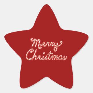 Felices Navidad rayadas del bastón de caramelo Pegatina En Forma De Estrella