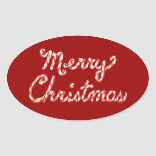 Felices Navidad rayadas del bastón de caramelo Pegatina Ovalada