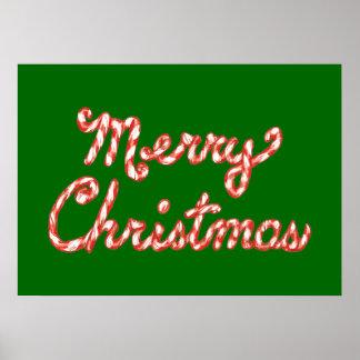 Felices Navidad rayadas del bastón de caramelo Póster