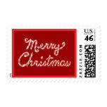 Felices Navidad rayadas del bastón de caramelo Sello