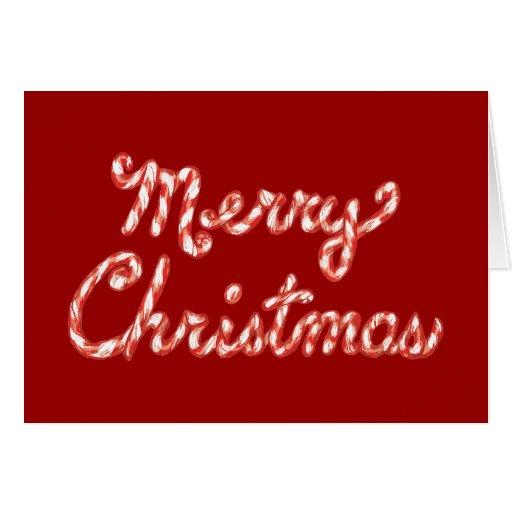 Felices Navidad rayadas del bastón de caramelo Tarjeta De Felicitación