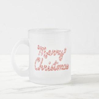 Felices Navidad rayadas del bastón de caramelo Taza