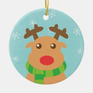 Felices Navidad - reno lindo con la nariz roja Adorno Navideño Redondo De Cerámica