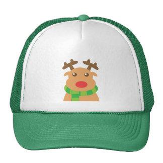 Felices Navidad - reno lindo con la nariz roja Gorras De Camionero