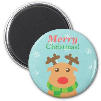 Felices Navidad - reno lindo con la nariz roja Imán Para Frigorífico