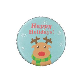 Felices Navidad - reno lindo con la nariz roja Latas De Dulces