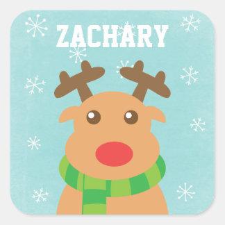 Felices Navidad - reno lindo con la nariz roja Colcomanias Cuadradas