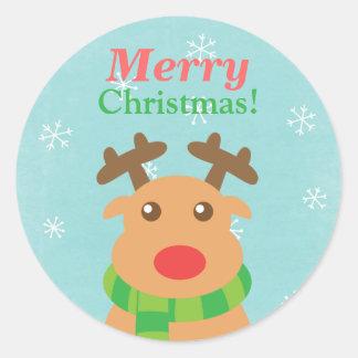 Felices Navidad - reno lindo con la nariz roja Pegatina Redonda