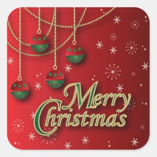 Felices Navidad rojas brillantes Calcomanía Cuadrada Personalizada