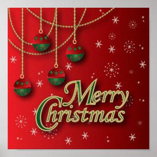 Felices Navidad rojas brillantes Póster