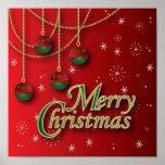 Felices Navidad rojas brillantes Posters