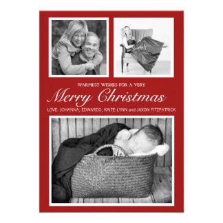 Felices Navidad rojas de la foto triple elegante Comunicado
