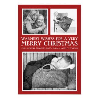 Felices Navidad rojas de la foto triple elegante s Comunicados Personalizados